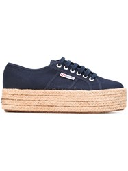 Superga Platform Lace Up Sneakers Women Cotton Rubber 39 Blue