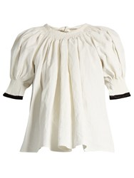 Christophe Lemaire Tie Neck Linen Blend Blouse White