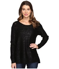 Nydj Sequin Tunic Black Women's Blouse