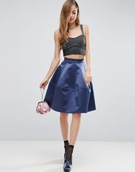 Asos Prom Skirt In Structured Satin With Seam Detail Ocean Blue