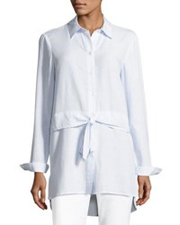 Tahari By Arthur S. Levine Waist Tie Striped Shirting Blouse Blue White