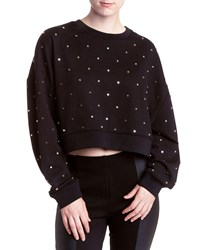 Romeo And Juliet Couture Dome Studded Crop Sweatshirt Black