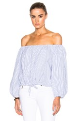 Sea Peasant Top In Blue White Stripes Blue White Stripes