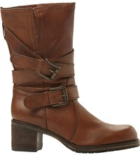 Dune Rocking Buckle Detail Leather Boots Tan Leather