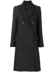 Palto Checked Double Breasted Coat Cotton Nylon Viscose Other Fibres Black