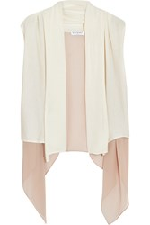 Vionnet Draped Knitted Silk And Silk Chiffon Vest Pink