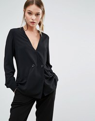 New Look Double Breasted Tux Blouse Black