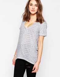 The Furies Kira Snake Print T Shirt Beige