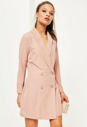 Missguided Petite Exclusive Nude Double Breasted Tuxedo Dress Peach