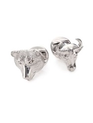 Saks Fifth Avenue Bull And Bear Cuff Links Silver