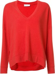 Brunello Cucinelli V Neck Sweatshirt Red