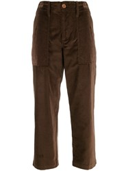 Jejia High Waisted Cropped Trousers Brown
