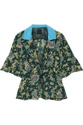 Anna Sui Woman Satin Trimmed Printed Silk Crepe Peplum Jacket Forest Green