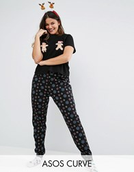 Asos Curve Mr And Mrs Christmas Ginger Bread Tee And Pyjama Pant Set Multi