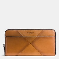 Coach Accordion Wallet In Patchwork Sport Calf Leather Saddle