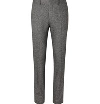 Hugo Boss Grey Slim Fit Tapered Virgin Wool Blend Tweed Trousers Gray