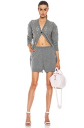 Alexander Wang Argyle Cardigan And Boxer Wool Blend All In One In Gray