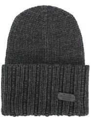 Dsquared2 Ribbed Knitted Hat Men Acrylic Wool Alpaca One Size Grey