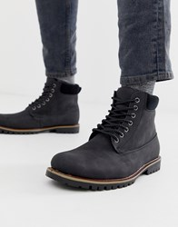 New Look Worker Boots With Borg Lining In Black
