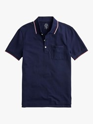 J.Crew Stretch Pique Double Tipped Short Sleeve Polo Shirt Navy Tipped