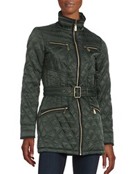 Vince Camuto Faux Suede Trimmed Quilted Jacket Hunter Green