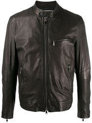 Drome Zip Front Leather Jacket Brown