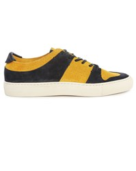 Buttero Mustard And Navy Serena Suede Sneakers Yellow