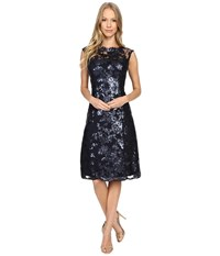 Adrianna Papell Extended Cap Sleeve Fit Flare Dress Ink Women's Dress Navy