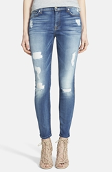 7 For All Mankind Faded Skinny Ankle Jeans Distressed Authentic Light