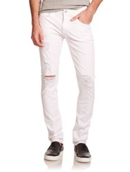 J Brand Tyler Slim Distressed Denim Jeans Destructed White
