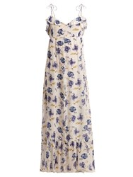 Athena Procopiou Floral Print Ruffle Trimmed Silk Maxi Dress Blue Multi