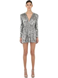 Amen Sequined V Neck Mini Dress Silver