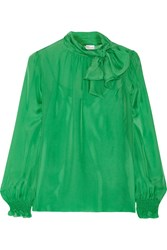Red Valentino Pussy Bow Silk Chiffon Blouse Green