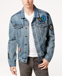 Ring Of Fire Men's Light Patch Denim Jacket Created For Macy's Light Washed