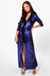 Boohoo Holly Satin Belted Duster Navy