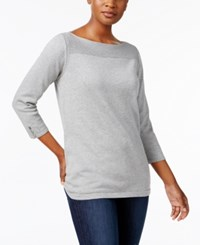 Karen Scott Boat Neck Cotton Sweater Created For Macy's Smoke Grey Heather
