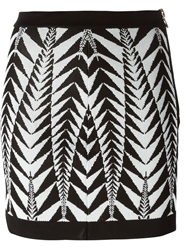 Balmain Chevron Pattern Skirt Black