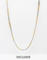 Reclaimed Vintage Chain Necklace In Mixed Metal Gold