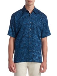 Saks Fifth Avenue Collection Printed Cotton Button Down Shirt Navy