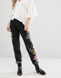 Glamorous Mom Jeans With Floral Embroidery Black Wash