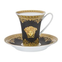 Versace I Love Baroque Cup And Saucer Set Of 6 Black