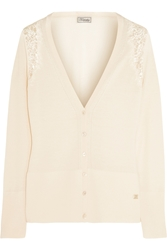 Temperley London Grace Lace Paneled Wool Blend Cardigan