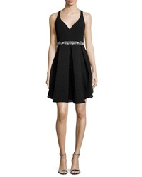 Marchesa Embellished Waist Tulip Cocktail Dress Black