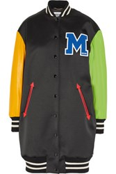 Moschino Appliqued Wool Blend Satin And Leather Bomber Jacket Black