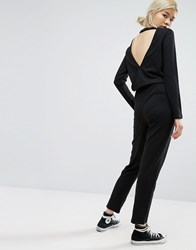 Daisy Street Relaxed Jumpsuit With Wrap Back Black