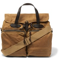 Filson Leather Trimmed Waxed Cotton Canvas Briefcase Tan