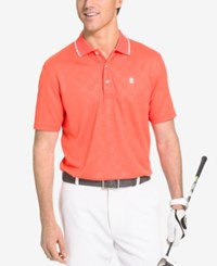 Izod Men's Tonal Gingham Short Sleeve Polo Shirt Hot Coral