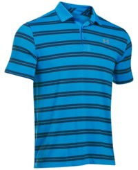 Under Armour Men's Groove Striped Golf Polo Electric Blue