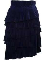 Marco De Vincenzo Midi Straight Skirt Blue