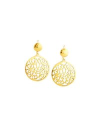 Jose And Maria Barrera Hammered Scroll Double Drop Earrings Gold